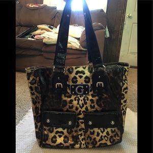 Guess leopard patent large bag